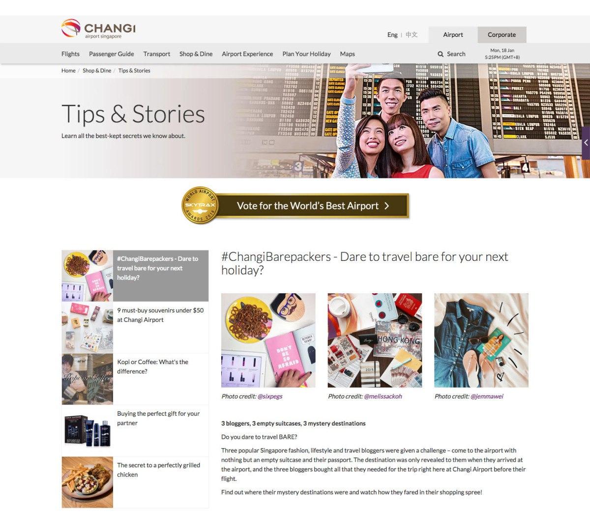 Changi Airport Articles, Portfolio