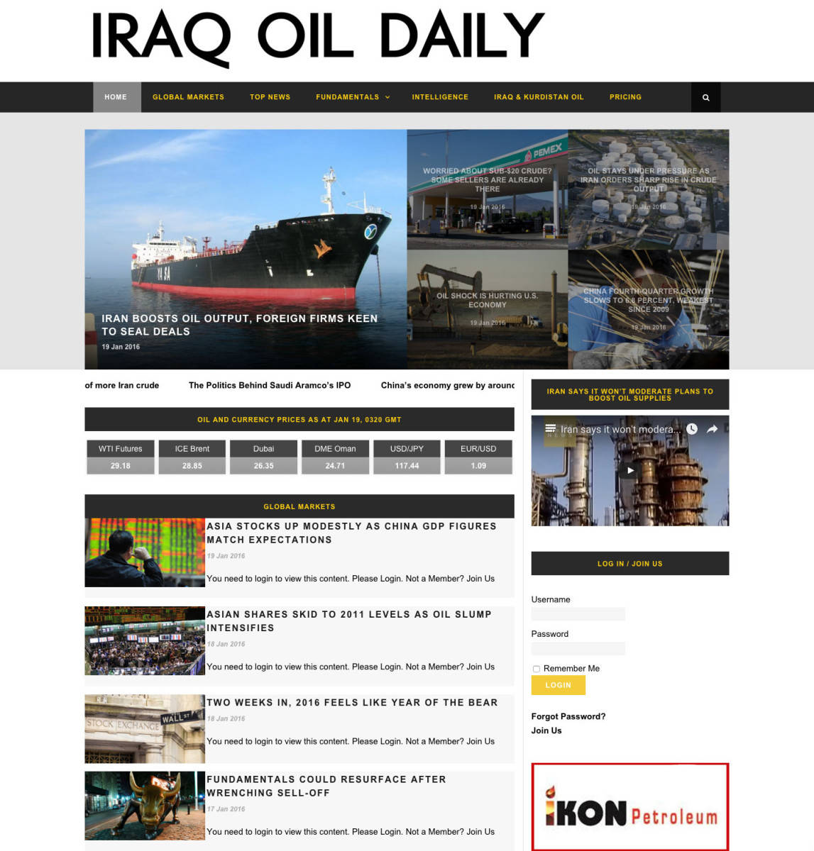 Iraq Oil Daily Homepage - Portfolio